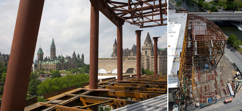Ottawa Convention Centre - Front roof trusses near completion.