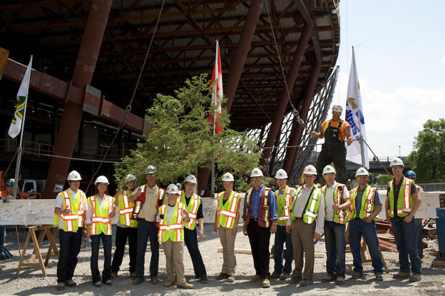 Ottawa Convention Centre - Signing of final beam by PCL staff