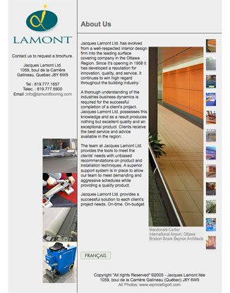Lamont Flooring - Brochure-style site designed to present their portfolio